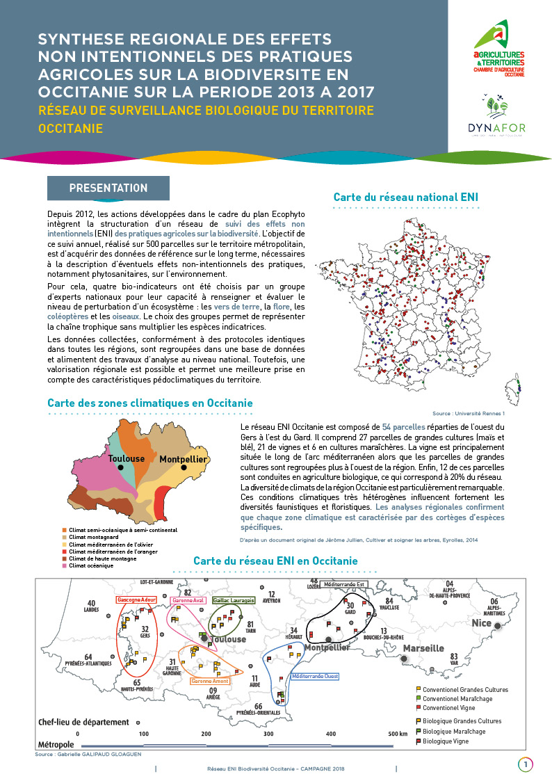 Synthèse régionale des effets non intentionnels des pratiques agricoles sur la biodiversité en Occitanie sur la période 2013 à 2017
